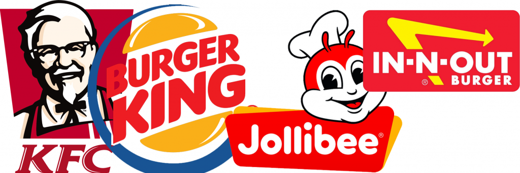 KFC, Burger King, Jollibee, In-N-Out Burgers